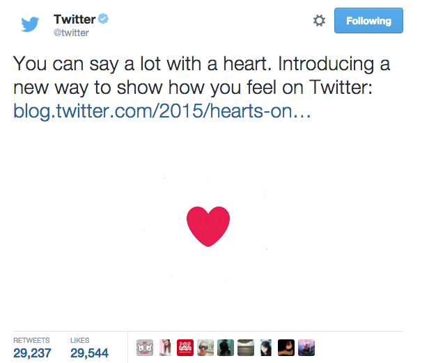 twitter favorites to hearts change